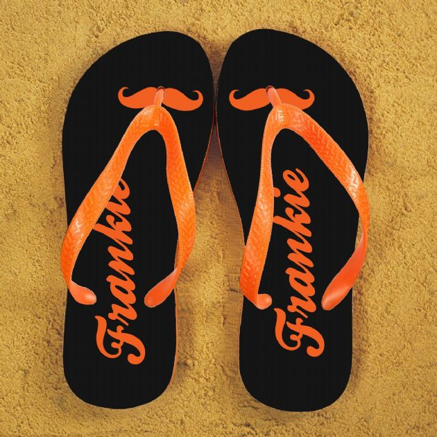 Moustache Style Personalised Flip Flops in Grey and Orange